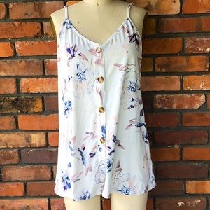 Rayon Floral Blue Pink Cami Large Women's